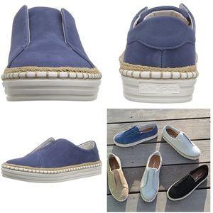 JSlides Karla Blue Leather Suede Shoes